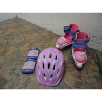 Patines, Casco, Rodilleras De Barbie Son Ajustables 18 A 23