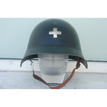 Casco Mº 18 Suizo De La Brigada Contra Incendios Con Al Cruz