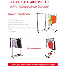 Perchero Ropero Plegable Portatil Movible Con Llantas