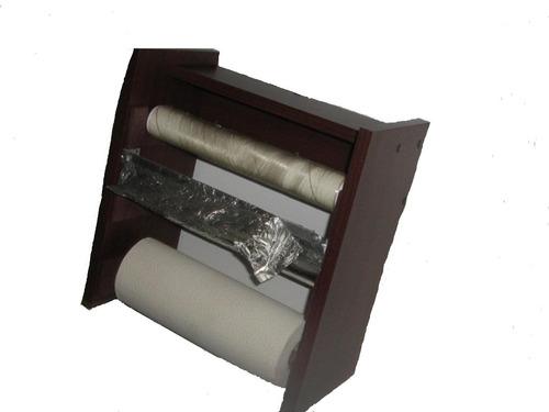 Porta rollos cocina 3 tipos de papel y especiero 350 for Porta utensilios cocina