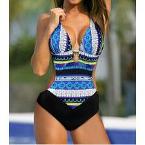 Hermoso Bikini Monokini Vintage, Push Up Rojo Y Azul