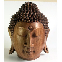 Cabeza Buda Tallado En Madera Coleccion Nueva Envio Gratis