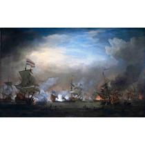 Lienzo Tela Batalla Nocturna De Texel 1673 Barcos Naval
