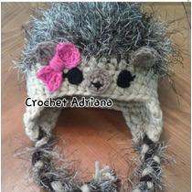 Gorro Puercoespin Tejido Crochet Bebé