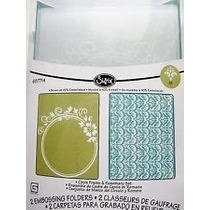 Scrapbook Sizzix Embossing Folders Circle Frame & Rosemary