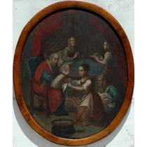 Nacimiento De La Virgen Maria Oleo Colonial Español Sxviii