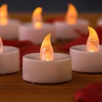 24 Vela Luz Led Ambar Amarillo Para Arreglos Fiestas Y Boda