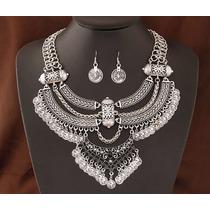 Maxi Collar Vintage Con Aretes Accesorio Mujer