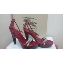 Zapatos Piel Burberry Zapatilla Rosa Fucsia Humo Sandalia