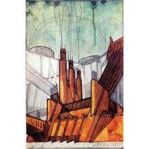 Lienzo Tela Planos Arquitectura 1914 Sant Elia 76 X 50 Cm