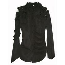 Cah19 Camisa De Hombre Gotico Dark Con Cortes