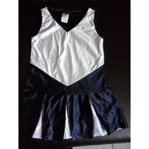 Porrista Traje Para Niñas Talla 4-6 Xs Azul Marino Blanco.