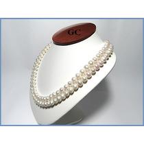 Collar De Perlas Naturales Con Broche De Oro 10k Doble Acc