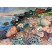 Lienzo Tela Costa Con Casa Roja Edvard Munch 1904 50 X 67 Cm