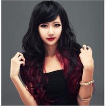Peluca Negra Con Rojo Ondulada Anime Cosplay