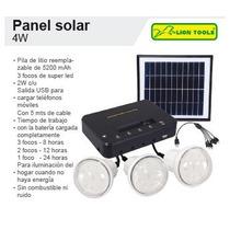 Kit Panel Solar 4w Cargador Usb Focos Led Cables Accesorios