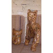 Jaguar De Madera Escultura Y Mascara