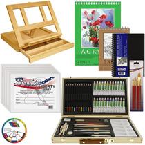 Kit De Pintura Art Supply® Acuarela Oleo Acrílico 68 Piezas