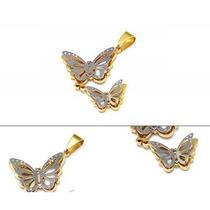 Dije Dos Tonos Diseño Mariposas 3d