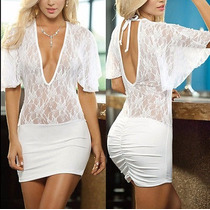 Vestido Blanco Licra Strech Unitalla Encaje Sexy Transparent