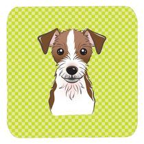 Conjunto De 4 Tablero De Damas Verde Lima Jack Russell Terri