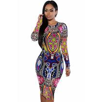 Sexy Mini Vestido Estampado Colores Tribal Con Mangas Largas