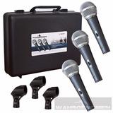 Set 3 Microfonos Dinamicos Alambricos Con Estuche Y Clips