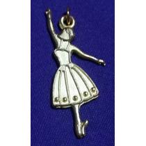 Set Aretes Y Dije Bailarina Ballet En Plata Tibetana Dorada.