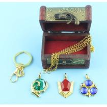 3 Zelda Collar Piedras Espirituales Ocarina Kokiri Zora Dije