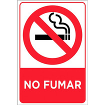 Letrero No Fumar, Señal Coroplast 30x20cm, Señaletica