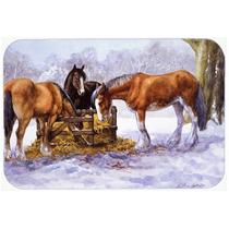 Caballos Que Comen El Heno En La Cocina De La Nieve O La Est
