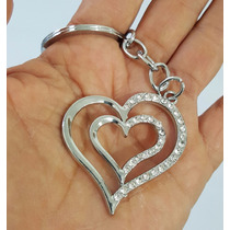Corazon Con Piedras Precioso Llavero Metálico Amor 1221
