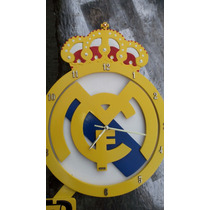 Reloj De Pared Del Real Madrid, Hecho A Mano En Madera Mdf