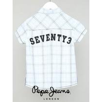 Camisa Pepe Jeans Kids Approved Blanco & Azul Seventy3 Vv4