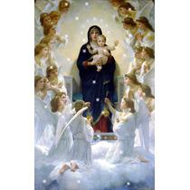Lienzo Tela Virgen Niño Jesús Y Ángeles Arte Sacro 50 X 80cm