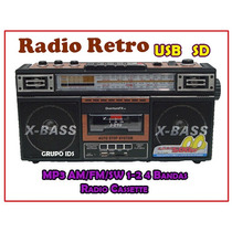Radio Retro Cassette Con Usb Y Sd Mp3, Am Fm Sw1-2 4 Bandas