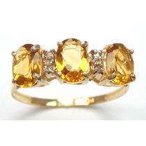 Anillo Oro 10kt Con Cetrinas Y Diamantes # 7
