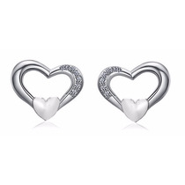 Aretes Oro Blanco 14k Lam. De Corazón Con 5 Diamantes Ruso