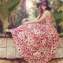Vestido Largo Midi Casual Floreado Flores Moda Japonesa