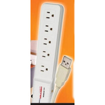 Barra Multicontactos De Corriente 110 Volts Control Usb