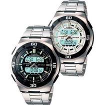 Reloj Casio Aq164 Metal Luz Alarma 60vueltas Cronometro Mdn