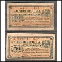 Par De Billetes Guaymas Sonora De 50 Y 10 Centavos