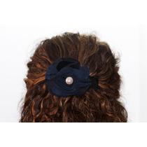 Prendedor Cabello Forma Flor Azul Con Negro Pre14