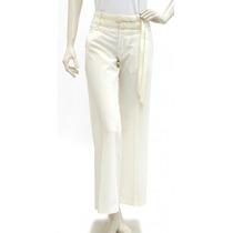 Pantalón Blanco, Doble Cinturón Delgado Ajustable Miss Six