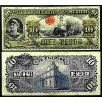 Bk-df-219 Billete Del Banco Nacional De Mexico De 10 Pesos