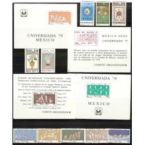 1979 Mèxico Universiada 4 Hojas Souvenir 10 Sellos Mint Nh.