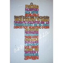 Cruz De Madera Padre Nuestro Multicolor