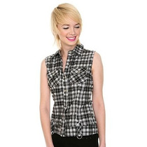Hot Topic Blusa Camisa Black And White Plaid Frayed Button M