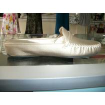Preciosos Zapatos Dorados De Piso Andrea 100% Piel 5 Mex