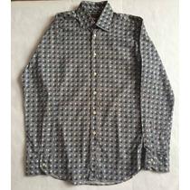 Camisa Etro Con Cuadros Negro, Blanco, Azul Talla 40 Slim